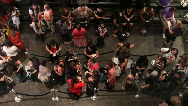 Romance readers wait at the annual Romance Writers of America signing, 2011. Photo via AP Images